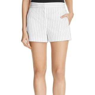 DKNY NEW White Black Women's Size 6 Striped Front-Tab Seamed Shorts