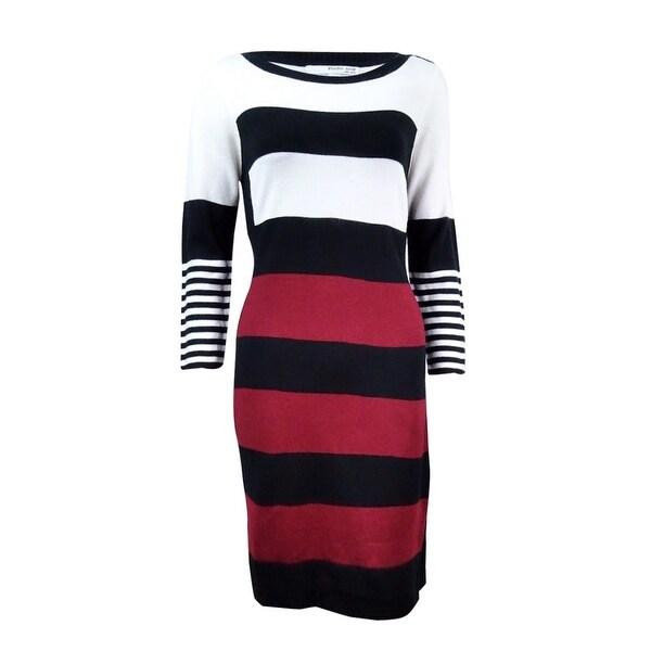 44edacf7556 Shop Sandra Darren Studio One Women s Striped Sweater Dress - ivory  bordeaux black - Free Shipping On Orders Over  45 - Overstock - 18303297