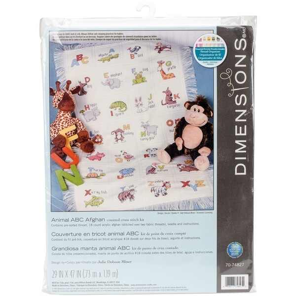 "Animal ABC Afghan Counted Cross Stitch Kit-29""X47"" 18 Count"