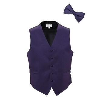 Lapis Satin Tuxedo Vest and Bow Tie