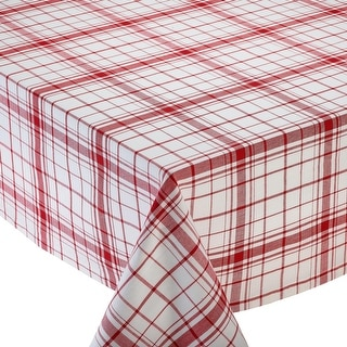 "Decorative Elegant Red and White Down Home Plaid Tablecloth 70"" Round"