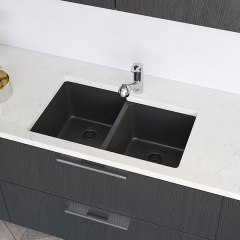 R3-1001 Offset Double Bowl Granite Quartz Kitchen Sink with Two Grids and Matching Colored Strainer and Flange