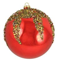 Red Glitter Sequin Beaded Shatterproof Christmas Ball Ornament
