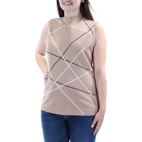 ALFANI Womens Beige Sleeveless Turtle Neck Tunic Sweater Size: L