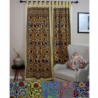 handmade 100 cotton sunflower floral tab top curtain drape door panel navy blue gray yellow