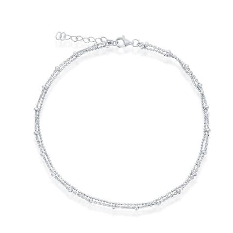 La Preciosa Double Strand Beaded 9+1 Anklet Bracelet Sterling Silver Jewelry for Women or Teens