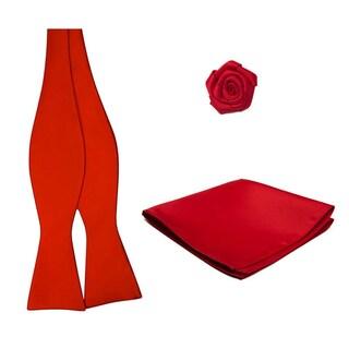 Self Tie Bowtie Hanky Open Rose Lapel Flower 3 pc Set - One size