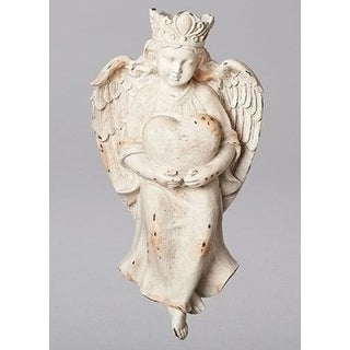 Set of 2 Versailles Vintage Distressed Angel Holding Heart Figurines 19.25 - White