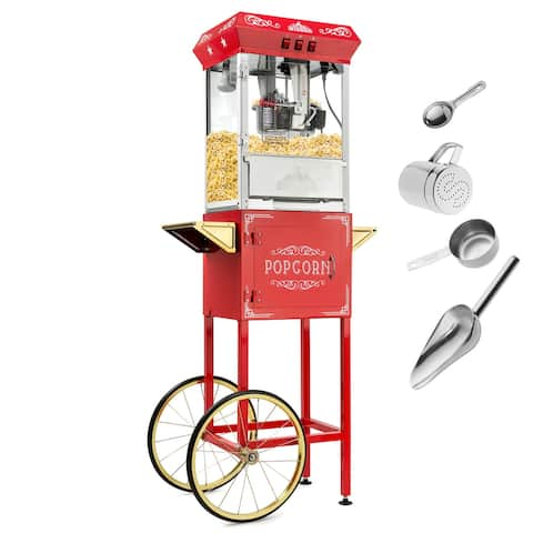 Vintage Style Popcorn Machine Maker Popper w/ Cart and 10-Ounce Kettle