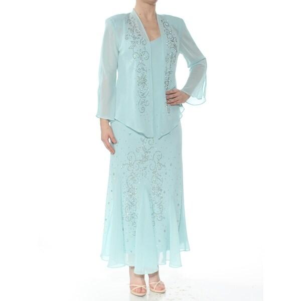 R&M RICHARDS Womens Aqua Sleeveless V Neck Maxi Evening Dress Size 6