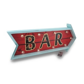 Retro Style Arrow Shaped LED Wooden Bar Sign w/Remote Control - Red