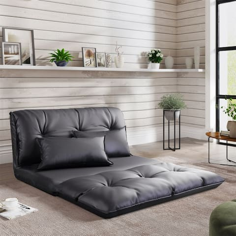 PU Leather Floor Chair Adjustable Sofa Bed Lounge Mattress Lazy Couch