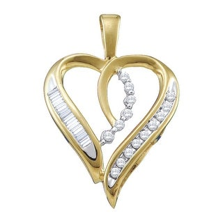 Heart Pendant 10K White-gold With Baguette and Round Diamonds 0.16 Ctw By MidwestJewellery - White