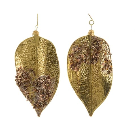 Set of 2 Green and Gold Embellished Leaf Christmas Ornaments 5""