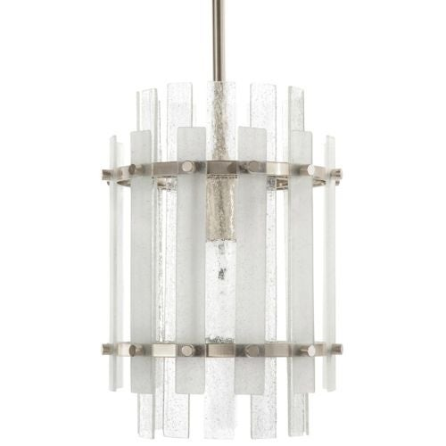 "Park Harbor PHPL5501 Brushed Nickel Sea Glass 9"" Wide Single Light Mini Pendant with Frosted Seeded Glass Panels"