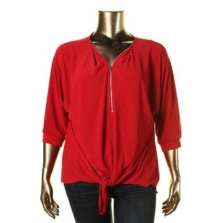 NY Collection Womens Plus Zipper Trim Tie Front Pullover Top - 3X