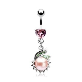 "{Pink} Heart Shape Prong Navel Belly Button Ring w/ 8mm Pearl CZ Dangle-14 GA 3/8"" Long-Pink (Sold Ind.)"