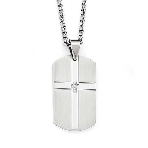 Chisel Stainless Steel Brushed and Polished with CZ Cross Dogtag Necklace - 22 in