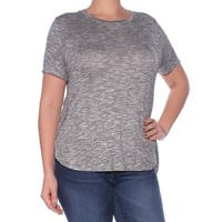 BAR III Womens Gray Heather Short Sleeve Jewel Neck T-Shirt Top  Size: L