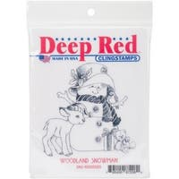 Deep Red Stamps Woodland Snowman Rubber Cling Stamp - 3 x 3.2