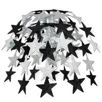 """Club Pack of 12 Hanging Metallic Black and Silver Star Cascade Party Decorations 24"""""""