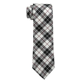 Tommy Hilfiger Traditional Tartans Plaid Classic Silk Tie Black White and Red