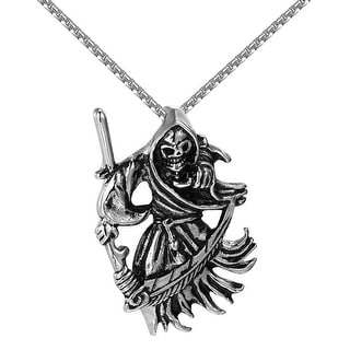 Grim Reaper Death Pendant Custom Stainless Steel Charm Box Necklace 24 Inch