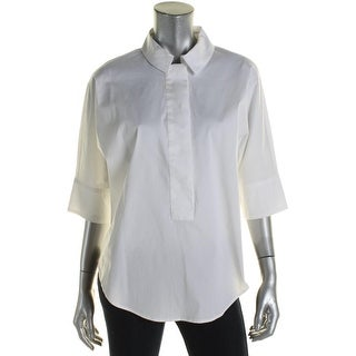 Anne Klein Womens Blouse Snap Front 3/4 Sleeve