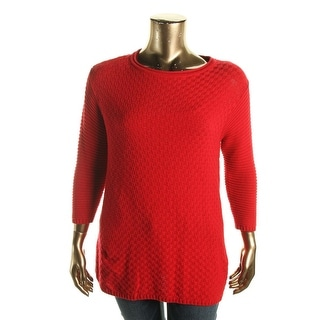 Vince Camuto Womens Plus Golden Era Mixed Stitch Long Sleeves Pullover Sweater - 1X