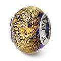 Italian Sterling Silver Reflections Gold/Purple Murano Bead (4mm Diameter Hole) - Thumbnail 0