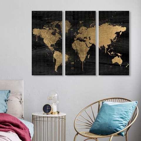 Oliver Gal 'Mapamundi Gold Triptych' Maps and Flags Wall Art Canvas Print Set - Gold, Black