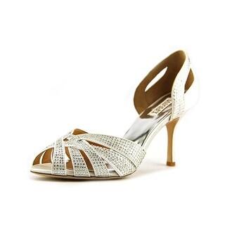 Badgley Mischka Tatiana Women Peep-Toe Canvas White Heels
