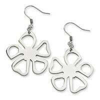Chisel Stainless Steel Polished Small Flower Dangle Earrings