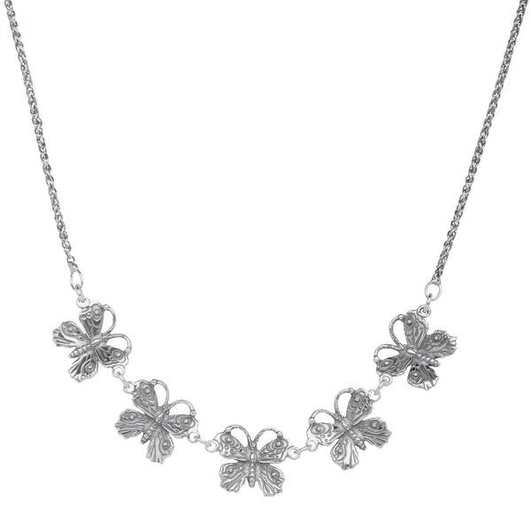 Van Kempen Art Nouveau Butterfly Necklace in Sterling Silver - White