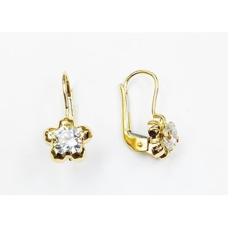 14K YELLOW GOLD LEVERBACK FLOWER EARRINGS WITH COLORED BIRTHSTONES