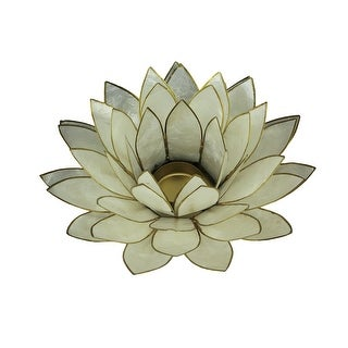 White Capiz Shell Lotus Flower Tealight Candle Holder - 3 X 8.25 X 8.25 inches