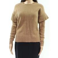 Lauren By Ralph Lauren Brown Womens Size XS Knitted Ruffle Sweater