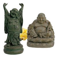 Design Toscano Jolly Hotei and Laughing Buddha Sanctuary Statue Set