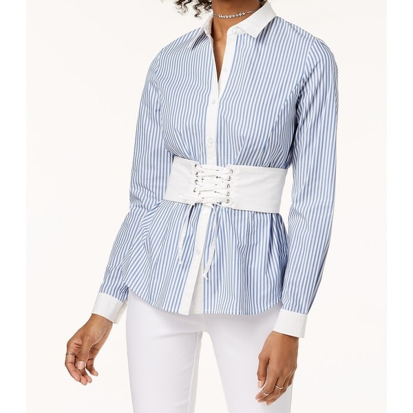 0ed087f72 Shop XOXO Large Junior's Striped Printed Corset Blouse - On Sale - Free  Shipping On Orders Over $45 - Overstock - 26909296
