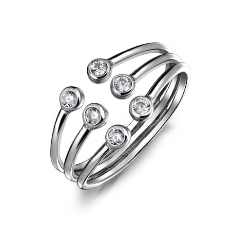 Tri Stone Stackable Colorless Cubic Zirconia Open 3 Row Statement Ring 925 Sterling Silver