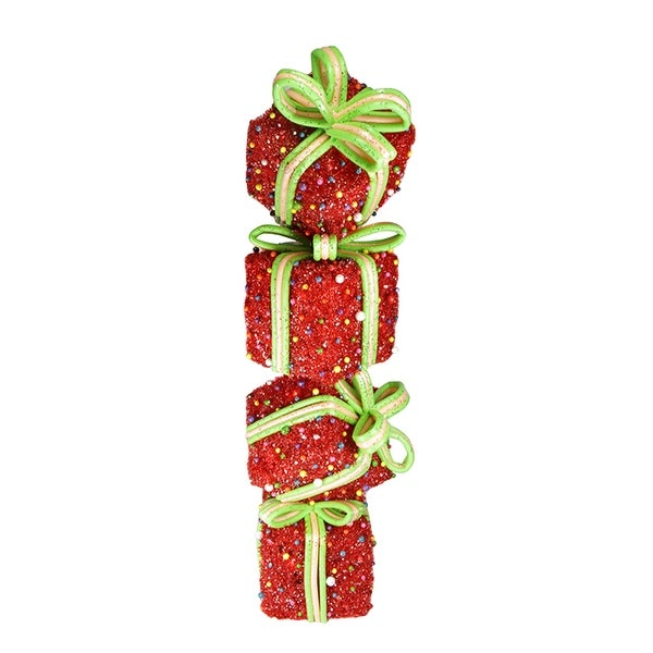 "34"" Lighted Red Tinsel and Candy Stacked Gift Boxes Christmas Outdoor Decoration"