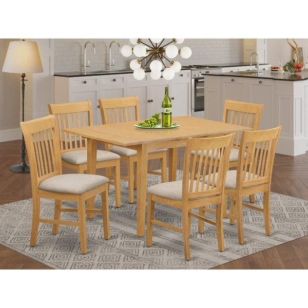 7 Piece Dining Set Oak Finish Dinette Table With Leaf And 6 Kitchen Chairs Overstock 10201182 Nofk7 Oak C