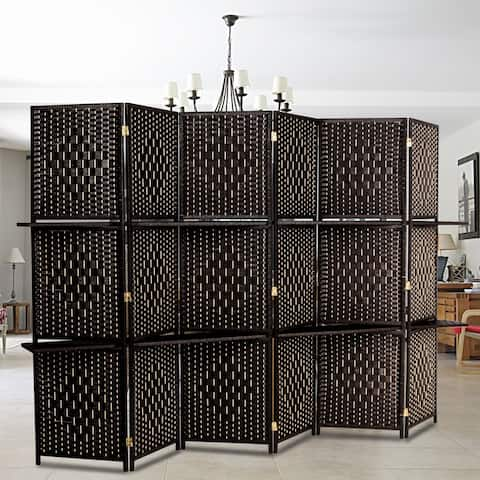 Six Folds Rattan Screen with Two Plates Dark Brown - 6 Panel