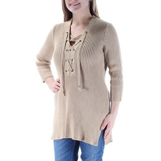 MICHAEL KORS $110 Womens New 1355 Beige Lace Up Long Sleeve V Neck Sweater M B+B