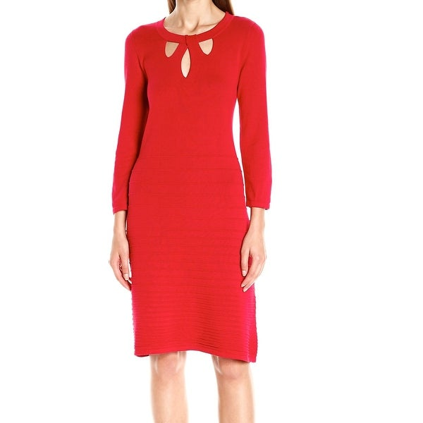a07d0d18a31 Nine West NEW Red Womens Large L Cutout Ribbed Fit  amp  Flare Sweater Dress