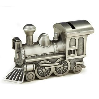 Leeber Elegance Pewter Plated Train Bank, 3.25 x 2.25 x 6 in.