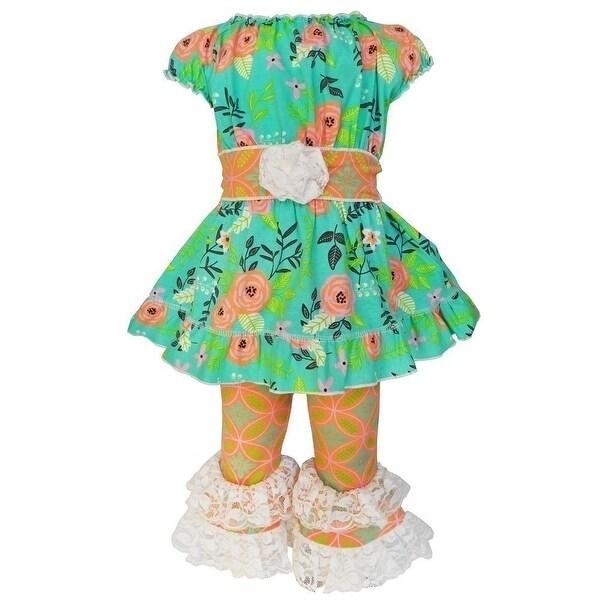 AnnLoren Baby Girls Orange Springtime Floral Damask Capri Outfit