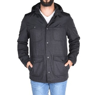 English Laundry Wool Combo Puffer In Charcoal And Black