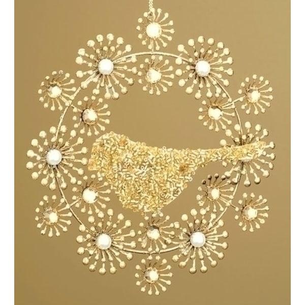 Beaded Gold Wreath with Bird Christmas Ornament