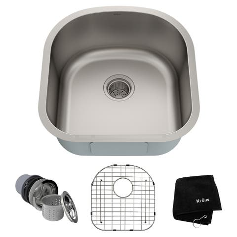 KRAUS Premier Stainless Steel 20 inch Undermount Kitchen Bar Sink